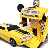 #7: Babytintin 2 in 1 Transform Robot Races Car Toy with Bright Lights and Music, Battery Operated (Multicolour)
