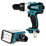 Makita DHP458 18V Cordless Compact Combi Drill with DML186 Fluorescent LED Torch
