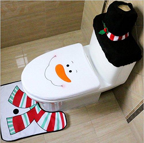 Lychee decorazione di natale di santa toilet seat cover & rug & tissue box cover set bagno set(pupazzo di neve)
