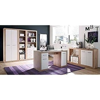 Komplettes Arbeitszimmer in San Remo Eiche / Weiß - Büromöbel ...