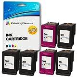 Printing Pleasure 6 XL Druckerpatronen für HP DeskJet 1000 1050 1050A 1050S 1055 2050 2050A 2050se 2510 2540 3000 3010 3050 3050A 3050S 3052A 3054A 3055A | kompatibel zu HP 301XL (CH563EE & CH564EE)