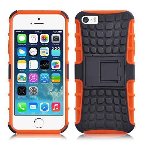 JAMMYLIZARD Outdoor Hülle für iPhone SE, iPhone 5 / 5s   Schutzhülle [Alligator] Doppelschutz Handyhülle Hardcase aus Polycarbonat und Silikon TPU Backcover Case Cover, Orange