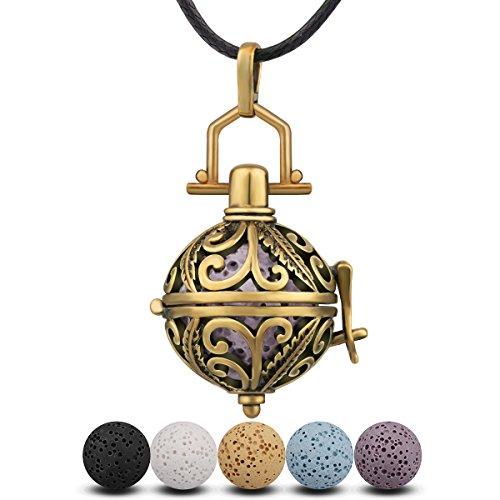 INFUSEU Aromatherapie ätherisches Öl Diffusor Frauen Halskette, Baum des Lebens vergoldet Kupfer Aroma Anhänger mit 5 Lava Rock Stein & Wachs Seil 24