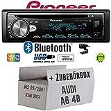 Audi A6 4b bis 2001 - Autoradio Radio Pioneer DEH-S5000BT - Bluetooth | CD | MP3 | USB | Android | iPhone 12V Radiopaket Einbauzubehör - Einbauset