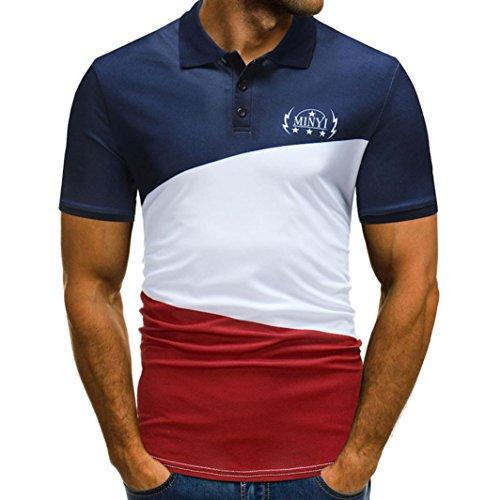 VEMOW Sommer Herbst Neue Mode Mens Tasten Design Halbe Strickjacken Kurzarm Casual Täglichen Party Business Workout Patchwork Casual T-Shirt(Marine, EU-48/CN-M)