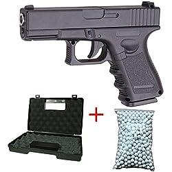 Galaxy Airsoft G.15 Type Glock 17 Culasse Métal à Ressort Couleur Noir Sachet de 600 Billes Offert avec Une Malette Forces Spéciales/Swat/Cosplay/Puissance 0.5 Joule