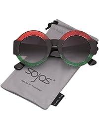104fc1c403e6 SOJOS Retro Round Sunglasses Bold Frame Horned Rim for Women Men SJ2047