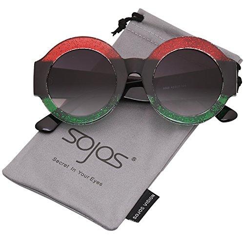 SOJOS Schick Klassische Dicke Runde Sonnenbrille Groß SJ2047 mit Rot Grün Rahmen/Schwarz Linse