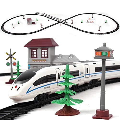 Tosbess Circuit Train Electrique pour Enfant , 1:87 Circuit Voiture Électrique Moderne, Coffret de Train TGV, Jeu Educatif Cadeau de Noël pour Enfant
