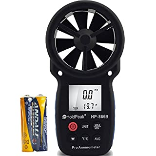 HOLDPEAK 866B Digital Anemometer Handheld LCD Wind Speed Meter for Measuring Wind Speed, Temperature and Wind Chill with Backlight and Max/Min