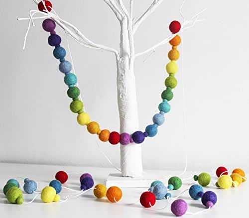 Rainbow FELTBALL GARLAND, Rainbow Pompom Garland, Rainbow Nursery Decor, Nursery Decor, Rainbow Children's Room Decor