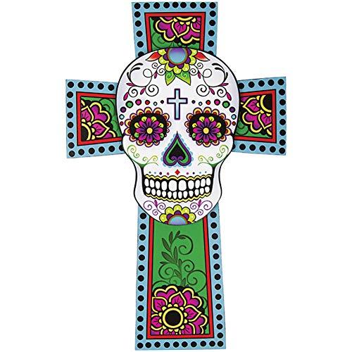 Dia de Los Muertos (Tag der Toten) 48,3cm Sugar Skull Kreuz Zum Aufhängen Art Wand (Sugar Skull Art)