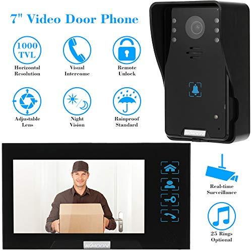 KKmoon Video-Türsprechanlage 7 Zoll Intercom Türklingel Touch-Taste Remote entsperren Nachtsicht regendicht Sicherheit CCTV-Kamera Home Überwachung TP02K11 -
