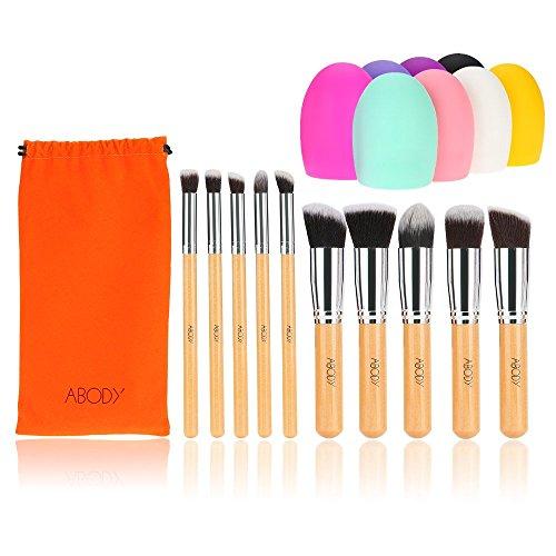 Abody 10Pcs Pinceau de maquillage professionnel mis à manche en bois Essential Kit cosmétique avec Gel de silice Mini nettoyage pinceau poudre outils Pinceau fard à paupières