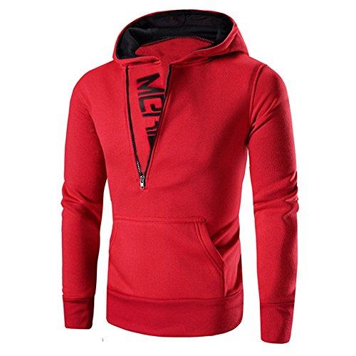 FRAUIT Mode Patchwork Langarm Männer Pullover Sweatshirt Mantel Stand Kragen Pullover Outwear 100% Baumwolle Volle Größe Outwear (L, Rot)