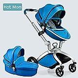 Hot Mom Limited Edition Kombikinderwagen und Buggy Sportwagen 3-in-1 Travelsystem 2017 mit Kinderwagenaufsatz ,Blau
