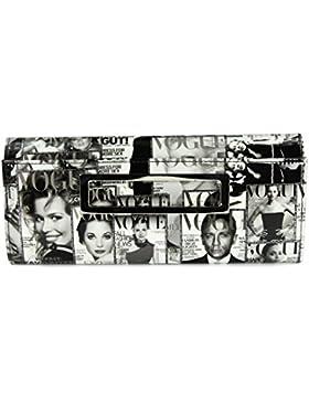 BELLI stylische It Clutch Umhängetasche aus Kunstleder schwarz weiß oder farbig - 32x14x7 cm (B x H x T)