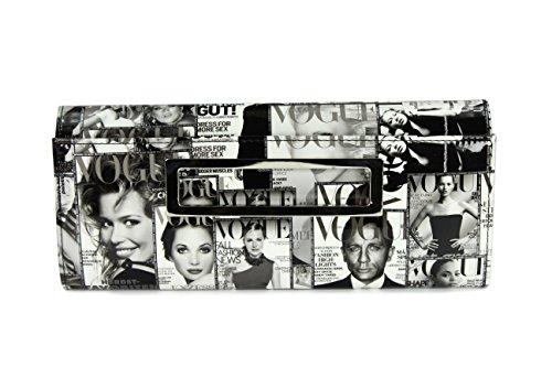 Business-zeitungen (BELLI stylische It Clutch Umhängetasche aus Kunstleder schwarz weiß oder farbig - 32x14x7 cm (B x H x T) (Schwarz weiß))