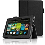 """Invero® Slim Fit Leather Case Cover with Stand Feature for Amazon Kindle Fire HD 7"""" Inch 2013 2nd Generation Version - Includes Screen Protector & Stylish Stylus Pen (Black)"""