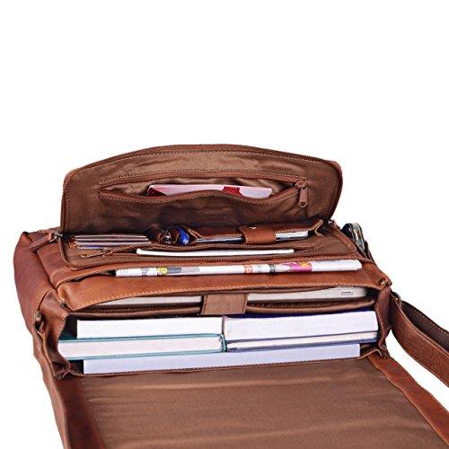 STILORD 'Marlon' Ledertasche Herren Business Uni Büro Vintage Umhängetasche groß DIN A4 mit 15.6 Zoll Laptopfach elegante Aktentasche aus echtem Büffel Leder, Farbe:cognac - braun cognac - braun