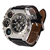 #8: Rrimin Dual Time Display Quartz Wrist Watch with Thermometer and Compass Black