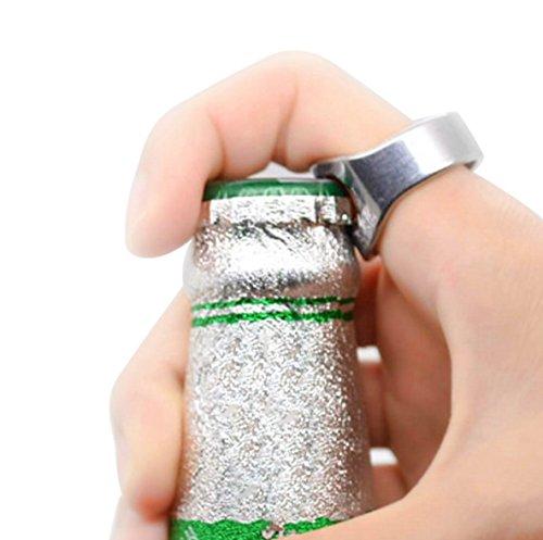 Confezione da 2dita in acciaio inox anello ring-shape bottiglia di birra Opener per birra bar Tool