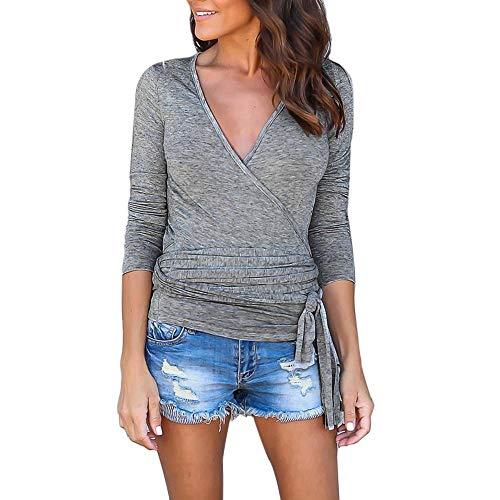 JUTOO Damen Plus Size Long Sleeves V-Ausschnitt lose Bandage Top Tunika Bluse Shirt(Grau,EU:44/CN:XL)