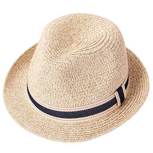 Taylormia Panama Hut für Frauen Sommer Sonnenhut UV-Schutz Faltbarer Strohhut UPF 50+ Beige
