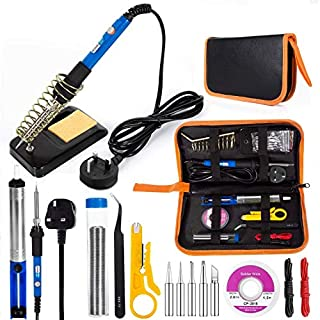 Electric Soldering Iron Kit, EletecPro Welding Tools Temperature Adjustable 60W 220V Soldering Set with 5 Iron Tips Kit, 6 Aid Tools, 2pcs Electronic Wire and Cleaning Sponge in PU Carry Bag (Blue)
