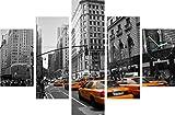 Fünf Elemente Uhr New York City Stadt Taxi Vintage Schwarz und Weiß Gelb Cab Wanduhr