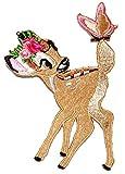 Unbekannt Bügelbild -  Disney - REH Bambi mit Schmetterling  - 7 cm * 9,8 cm - Aufnäher Applikation - Rehe / Hirsch - gestickter Flicken - Jungen & Mädchen - Waldtier..