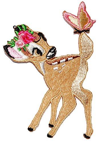alles-meine.de GmbH Bügelbild -  Disney - REH Bambi mit Schmetterling  - 7 cm * 9,8 cm - Aufnäher Applikation - Rehe / Hirsch - gestickter Flicken - Jungen & Mädchen - Waldtier..