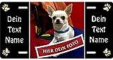 Hunde-Schild Blechschild mit eigenem Foto, Bild, Text, Metallschild Warnschild Türschild für innen und außen, 305x152mm