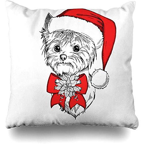 Ace Mate Dekokissenbezug Schöne süße Yorkshire Terrier Red Claus Ferien Cap Zeichnung Tierarzt Tier Black Bow Canine Charakter Kissenbezug