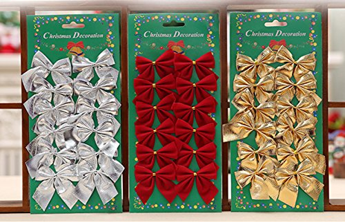 Weihnachtsdeko Anhänger Weihnachtsbaum-Dekoration 3x12er Set Zierschleifen Schleifen Verzierung Hängen Dekor Hochzeit Dekoration Partei Zusätze, Rot Gold Silber