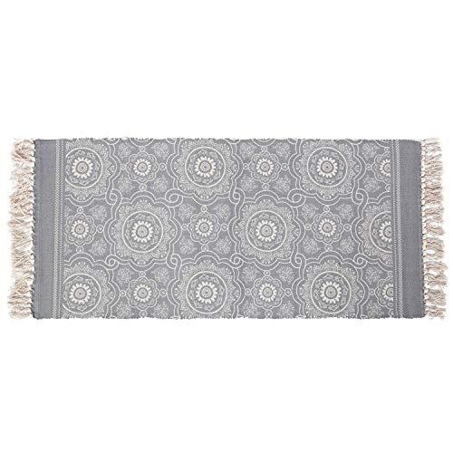SHACOS Baumwollteppiche mit Quasten Waschbar Handgewebte Vintage Teppiche Grau, Perfekt für Küche,Wohnzimmer,Dekor (60 x 130cm) (Küche, Teppich Läufer)