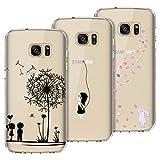 Yokata [3 Packs] für Samsung Galaxy S7 Hülle Transparent Silikon Handytasche Handyhülle Schutzhülle TPU Ultra Dünn Slim Durchsichtig Motiv Muster Cases Covers - Löwenzahn + Weißer Hase + Mädchen