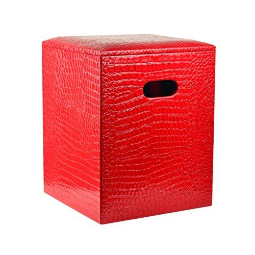 Tabouret de pied avec couvercle Rangement carré Pouf Box Change Tabouret de chaussure Repose-pieds rembourré en cuir PU Tabouret de maquillage pour couloir Salon en rouge Max. 150kg 30X30X40m