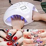 Lámpara de uñas UV LED de 48 W, lámpara UV LED portátil, secador de uñas profesional para manicura y pedicura, sensor automático y 4 temporizadores preestablecidos 10s, 30s, 60s, 99s A