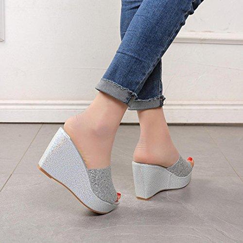 Omiky® Frauen Hausschuhe Sexy Open Toe Schuhe Wedge Slip High Heel Hausschuhe Flip Flop Silber