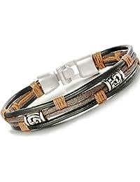 Bliqniq Herren Leder Armband Herrenarmreif Seil Armkette Legierung für Männer Länge: 22cm