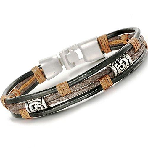 (Valentinstag Geschenk)Bliqniq Herren Leder Armband Herrenarmreif Armkette Edelsthal von höchster Qualität für Männer Schwarz Silber Länge: 21/22cm