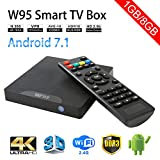 Sawpy W95 Android TV Box Android 7.1 Smart TV Box 64bit Quad Core CPU 1GB +8GB 4K UHD WiFi & LAN VP9 DLNA H.265