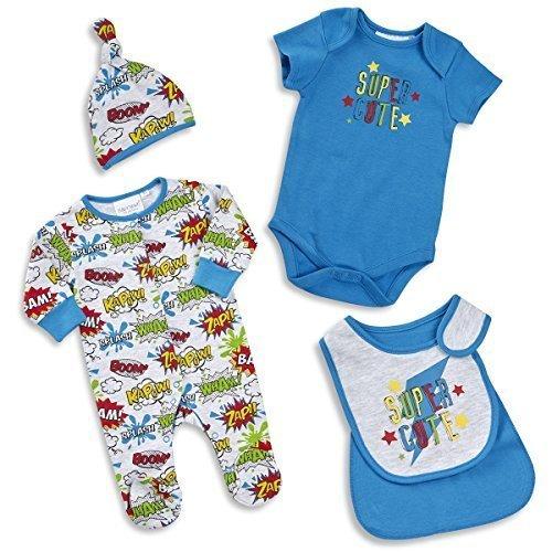 BABYTOWN TinyBaby Junge Schlafanzug Set Neugeborenes Superhelden Comic 0-12 months 4 Piece - Blau, 74-80