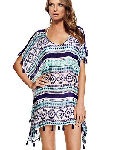 Wander Agio Strandkleid/Strandponcho für Damen, Streifen, Makramee, aus Chiffon, Weiß  Gr. Medium, schwarz