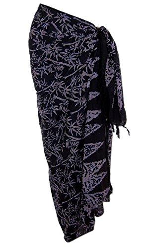 Sarong Pareo Wickeltuch Wickelrock Batik Strand Tuch in weicher Premium Qualität Schwarz