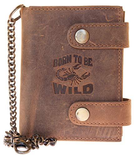Billetera marrón Born to be wild estilo motero de cuero con cadena de metal el escorpión