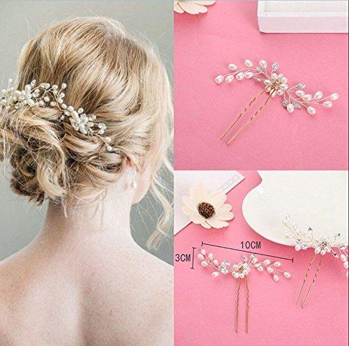 Slivercolor 2 pz da donna eleganti perline strass fermaglio per capelli 44515e97f12d