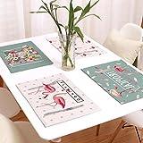 Handwerk Baumwolle Leinen Tischsets für Küche Esstisch rutschfest Set von 4 Flamingo