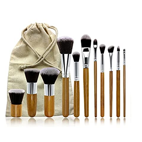 Make up Pinsel Set Roimee make up und pinsel 11 Stück Set mit Premium Synthetik Haar und natürlichen Bambus Griffe-Vegan Make-up Pinsel Set - Face Powder Pinsel Make-up Pinsel